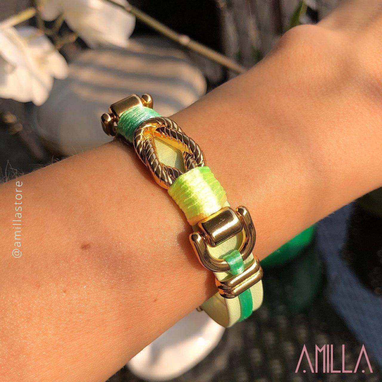Pulseira Couro Cor Menta tecido Verde Candy Color Detalhe Trançado Metal Banho Ouro