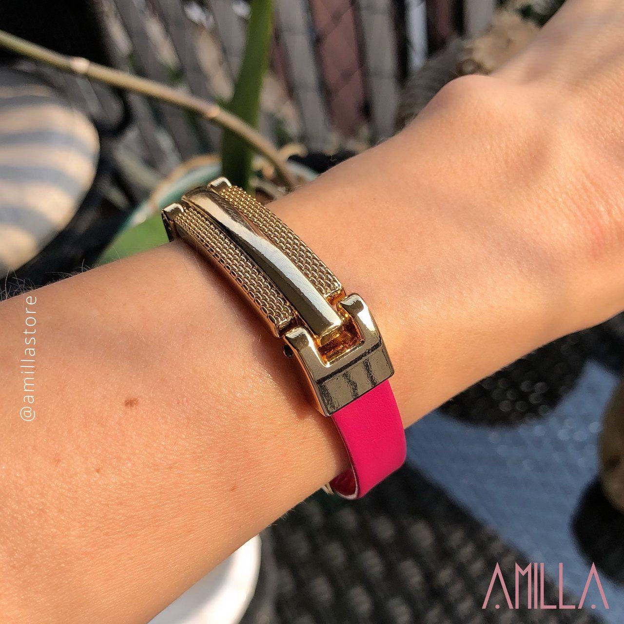 Pulseira Couro Rosa Detalhe Retangulo Metal Trabalhado Banho Ouro