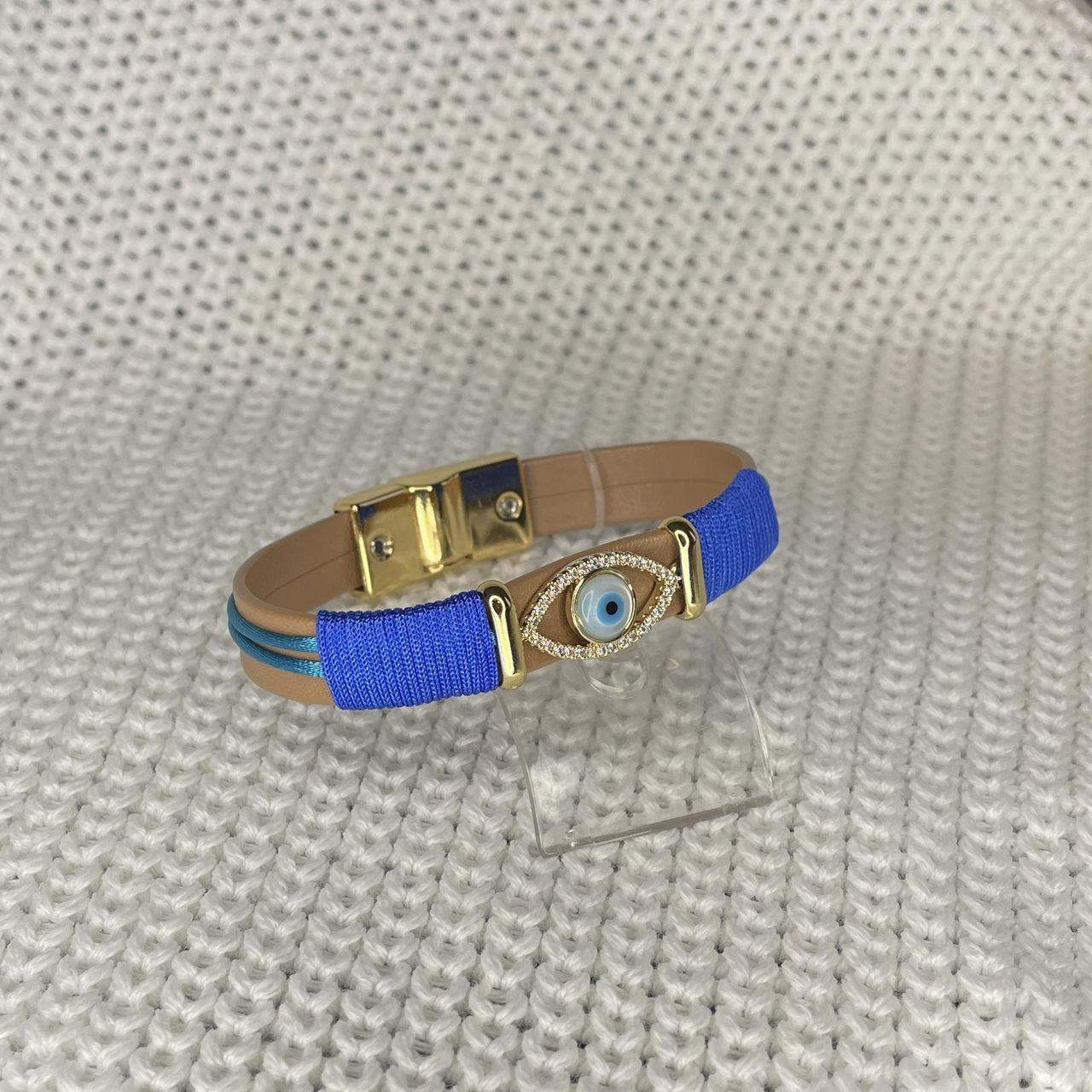Pulseira Marrom e Azul Olho Grego Cravejado Banho Ouro