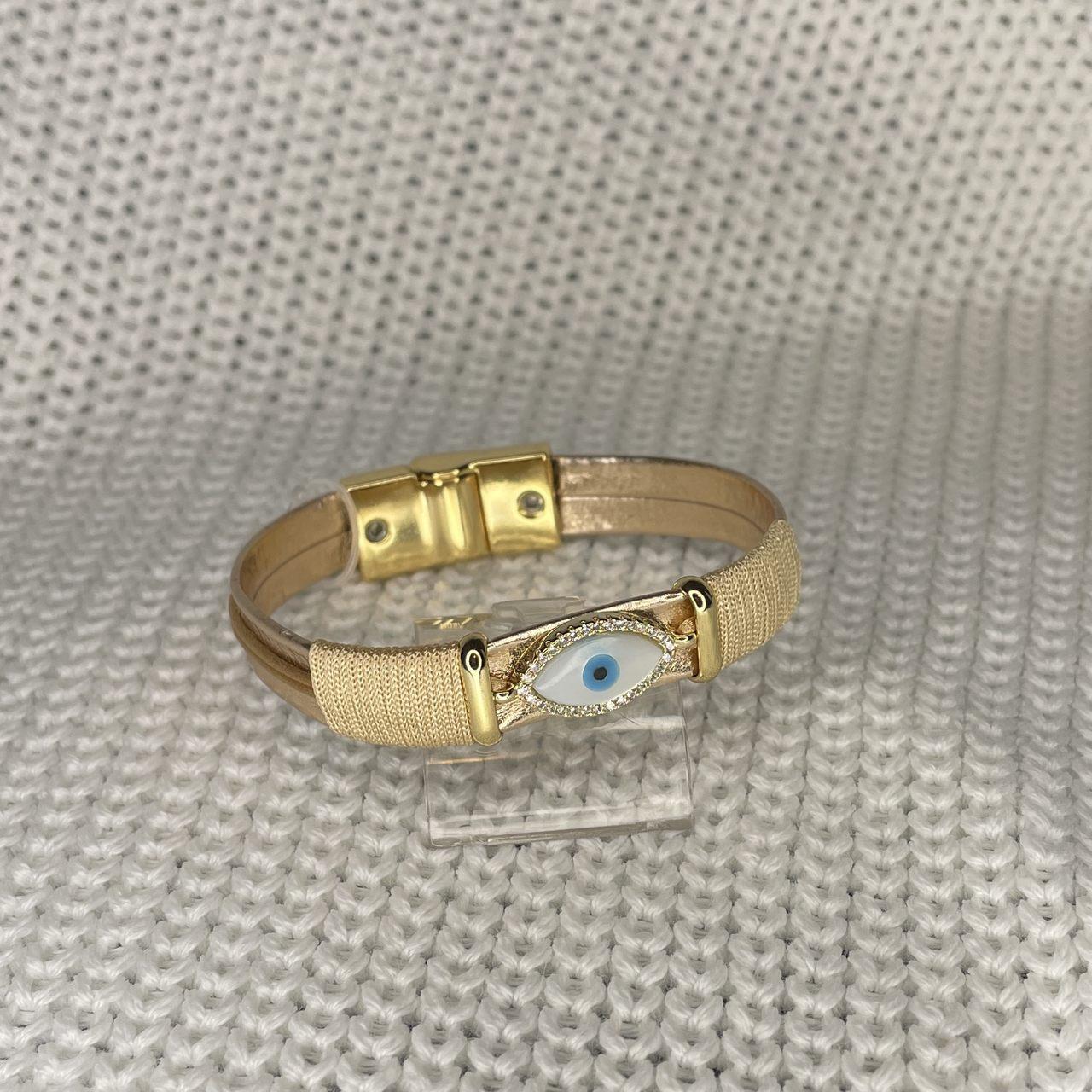 Pulseira Metalizada Nude Olho Grego Madre Cravejado Banho Ouro