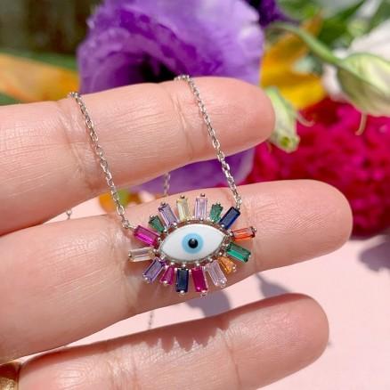 Prata 925 Colar Olho Grego colorido
