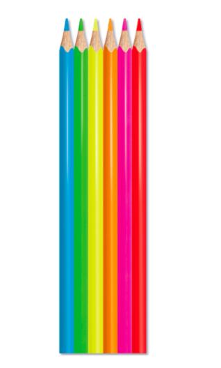 Lápis de Cor Color Peps Fluo MAPED 6 Cores