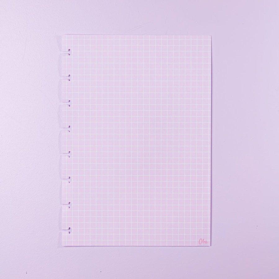 Miolo OBA A5 – Notas Quadriculadas – Rosa