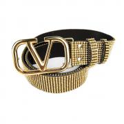 Cinto Valentino 4 cm Strass Dourado