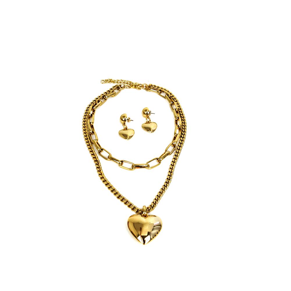 Conjunto Coração Dourado