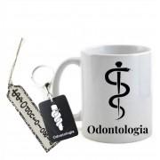 Conjunto Caneca, Chaveiro e Marca Páginas Profissão Odontologia