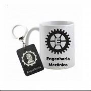 Conjunto caneca e chaveiro profissão engenharia mecânica