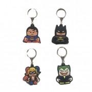 Conjunto de Chaveiros de Borracha DC Comics