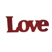 Palavra Love Madeira Vermelho