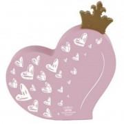 Placa De Mesa Coração Coroa Rosa