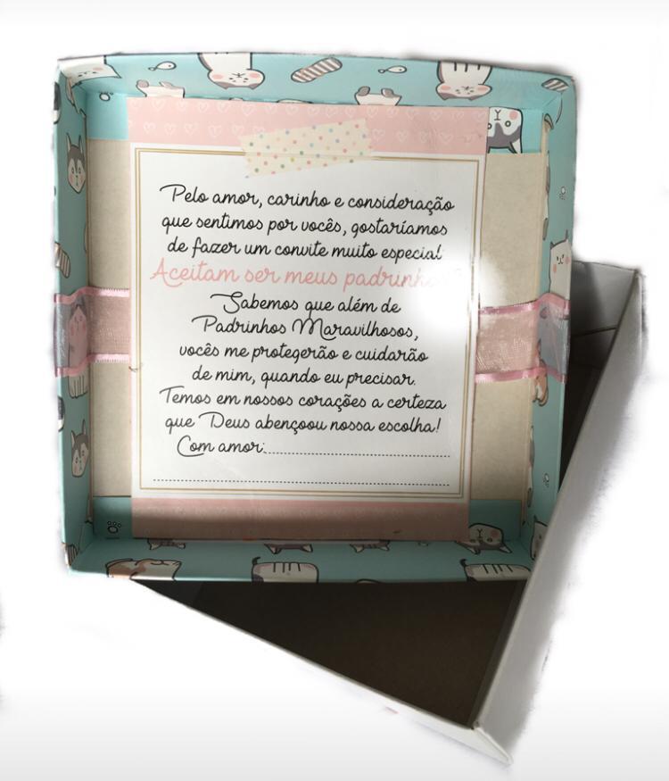 Caixa para Convite Padrinhos Rosa