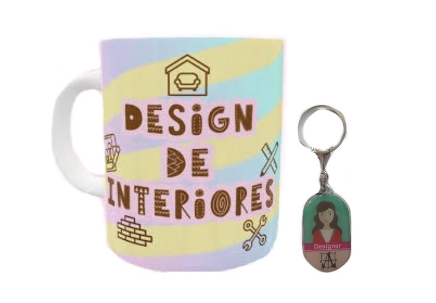 Caneca e Chaveiro Profissão Design de Interiores