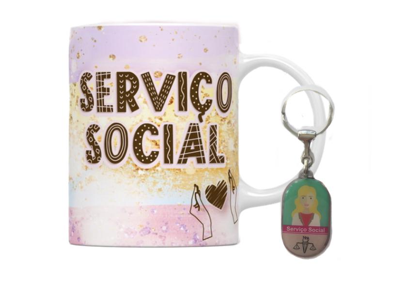 Caneca e Chaveiro Profissão Serviço Social