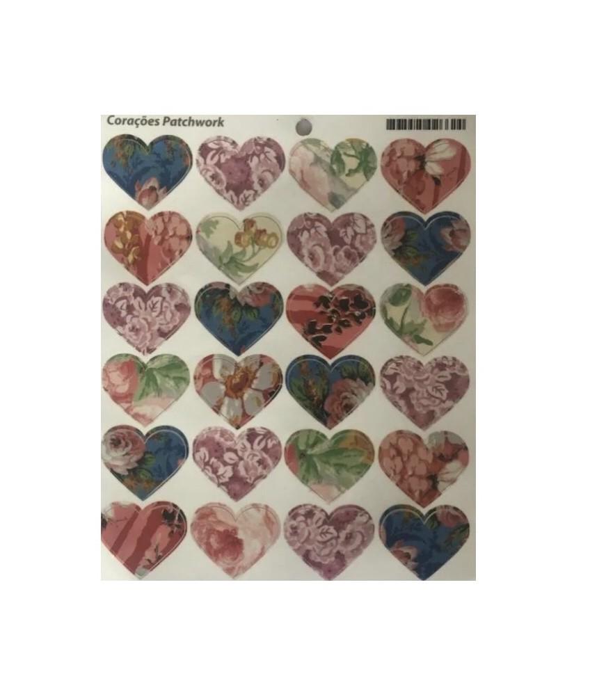 Cartela Adesiva Coração PatchworK