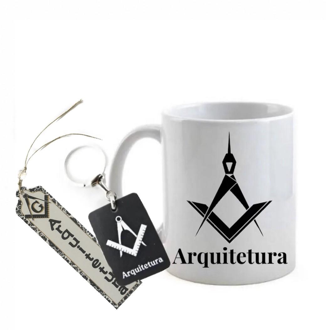 Conjunto Caneca, Chaveiro e Marca Páginas profissão arquitetura