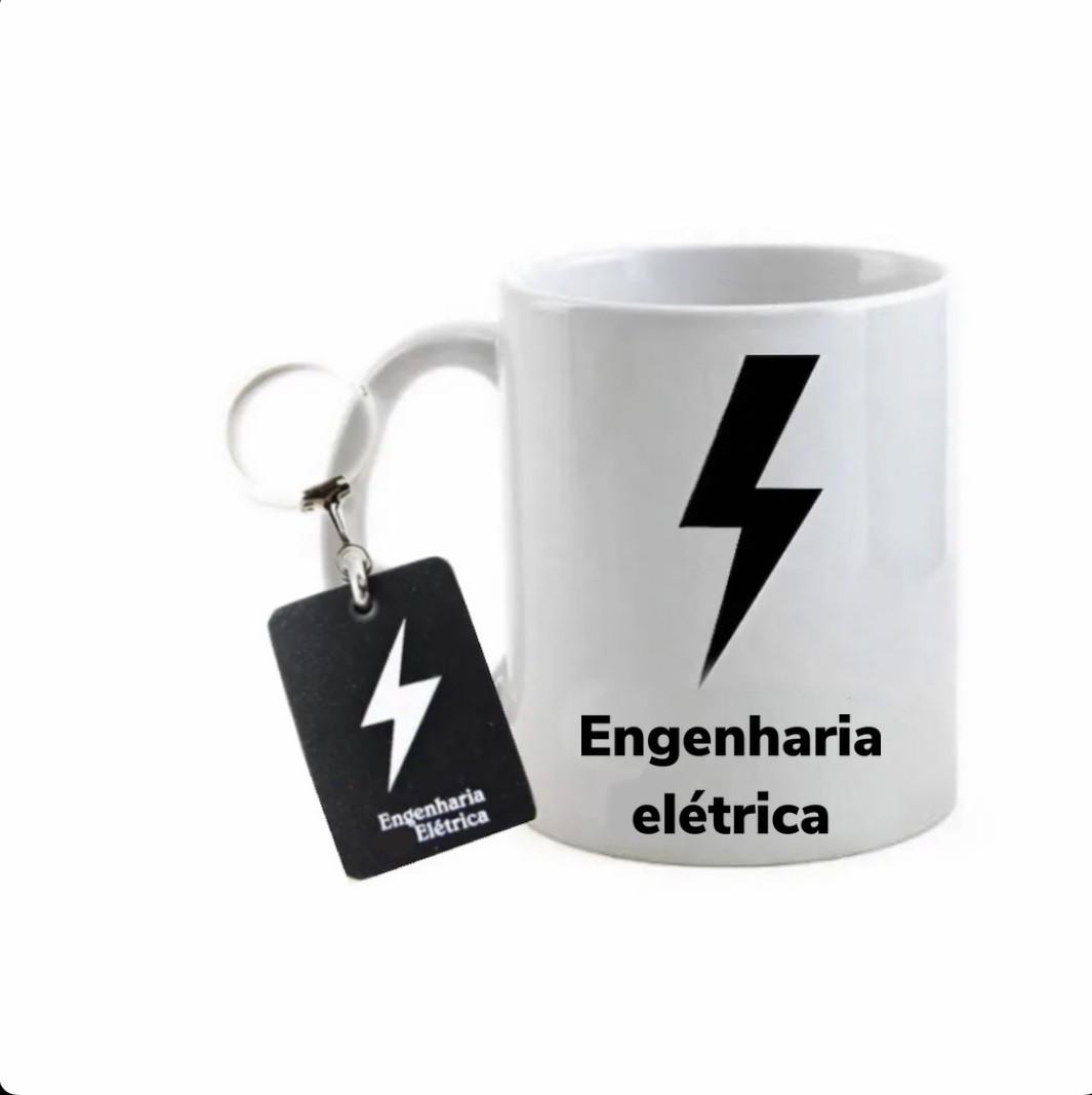 Conjunto caneca e chaveiro profissão engenharia elétrica