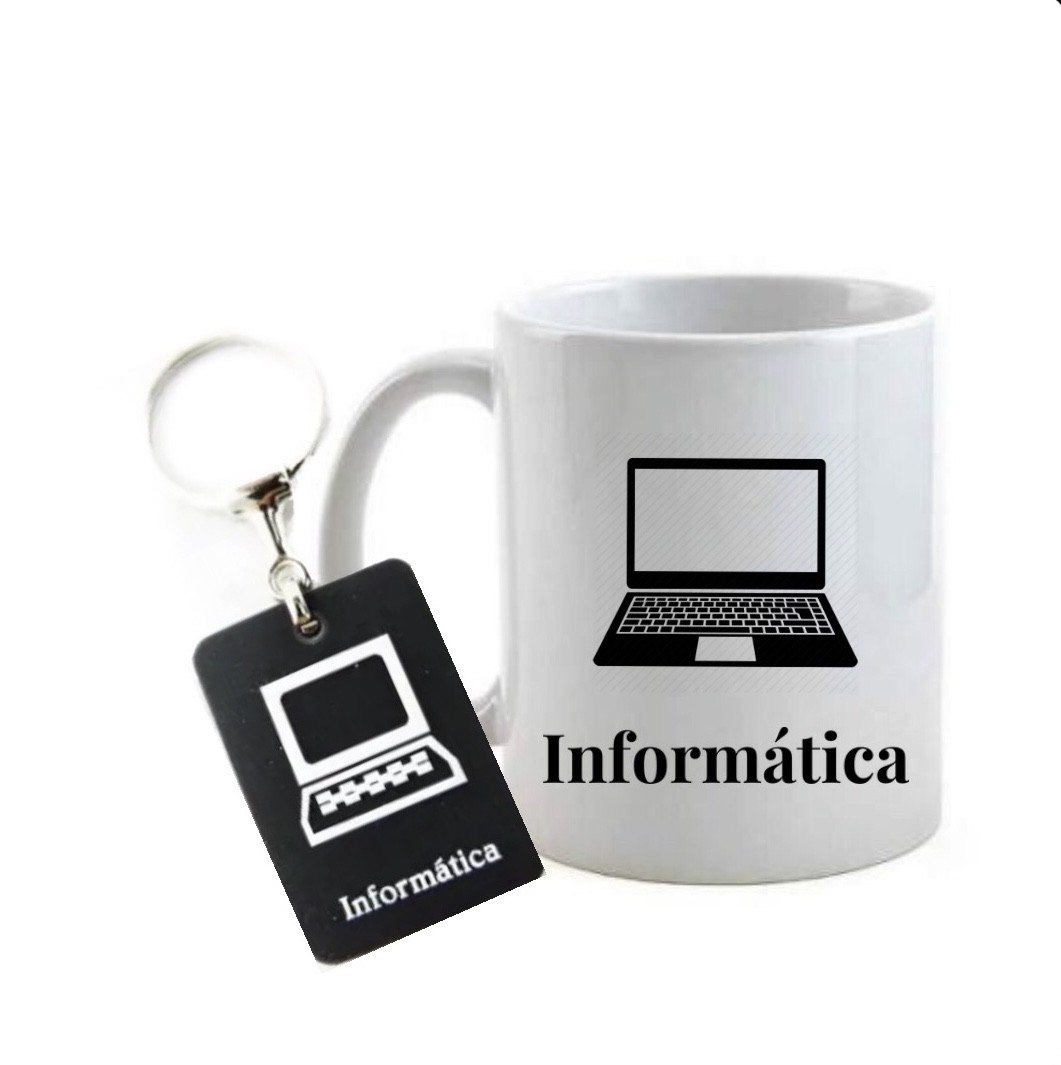 Conjunto caneca e chaveiro profissão informática
