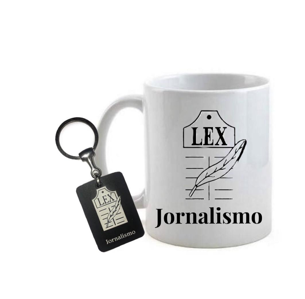 Conjunto caneca e chaveiro Profissão Jornalismo