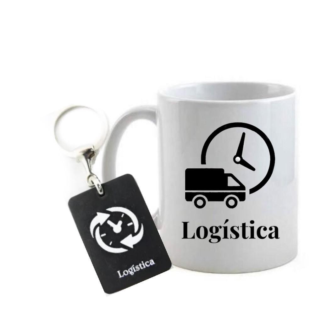 Conjunto caneca e chaveiro profissão logística