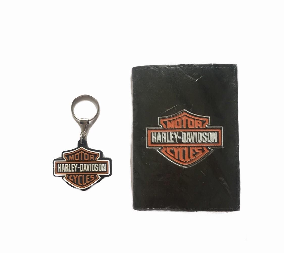 Conjunto Carteira com Chaveiro Harley Davidson