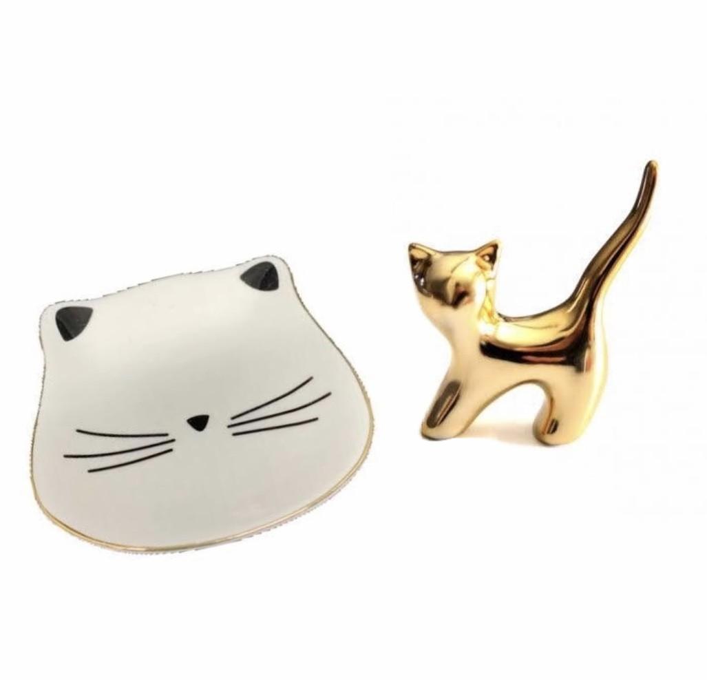 Conjunto Porta-Anéis Gato Dourado