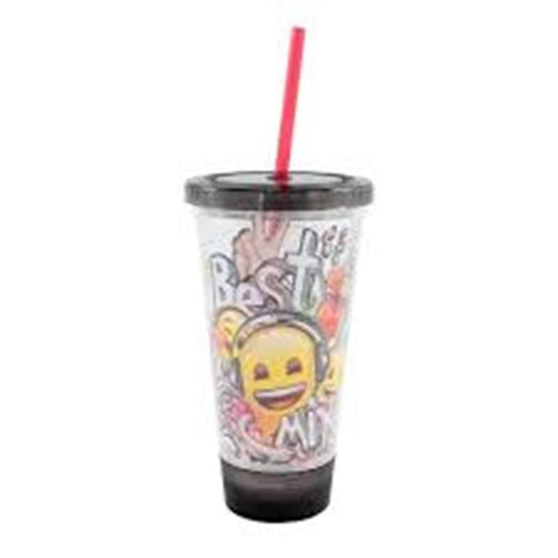 Copo Canudo Led Emoji Music