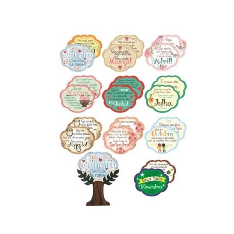 Enfeite Árvore com Mensagens Meses