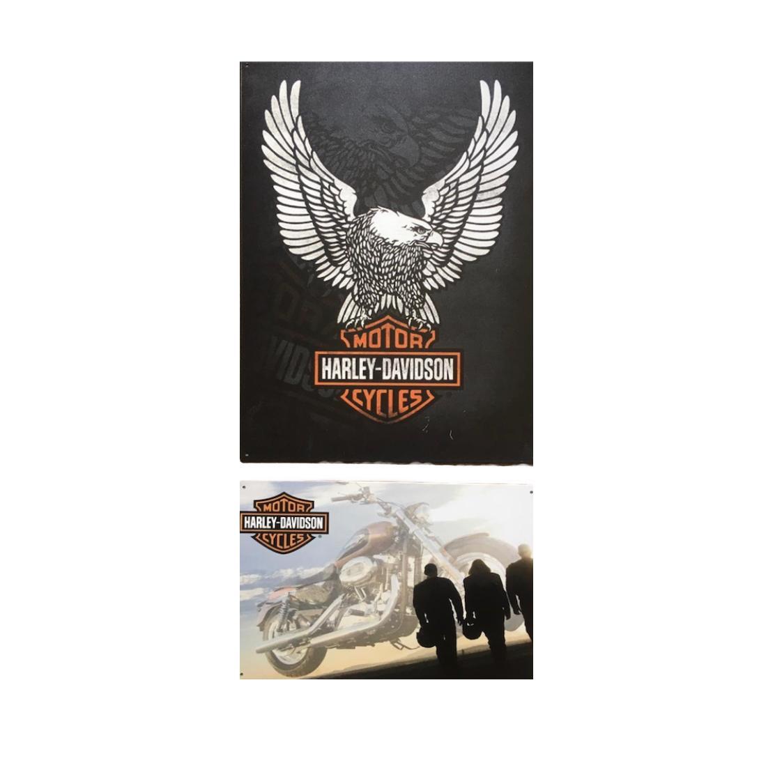 Kit 2 Placas Metal Harley Davidson