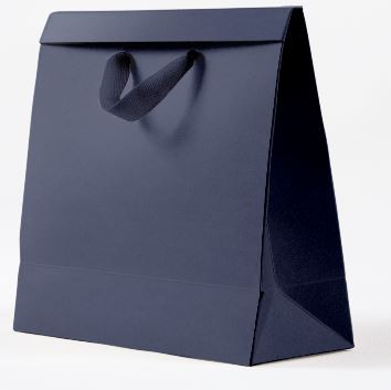 Kit com 3 Sacolas de Presente Lisa Azul Marinho P