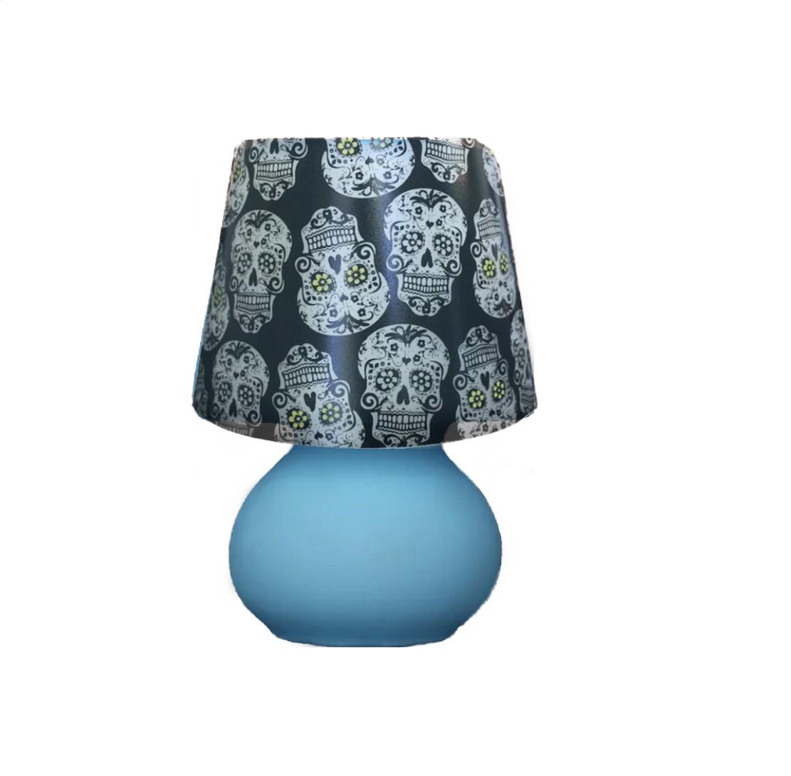 Luminária Micro Lampe Azul com Capa Caveira de Brinde