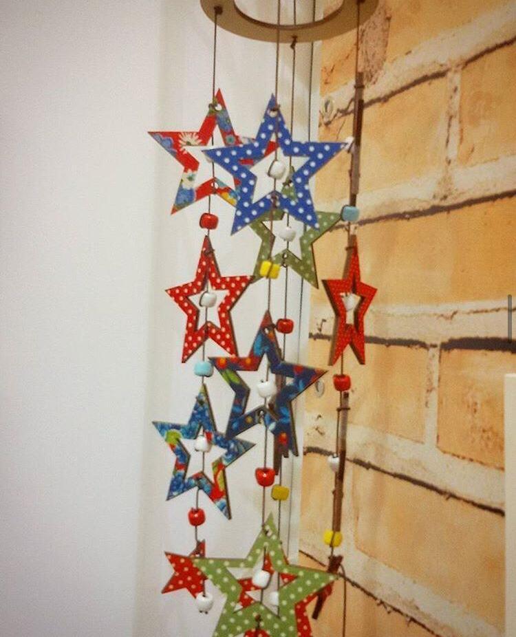 Móbile Estrelas Retalhos