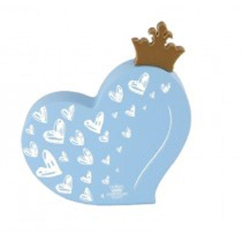Placa De Mesa Coração Coroa Azul