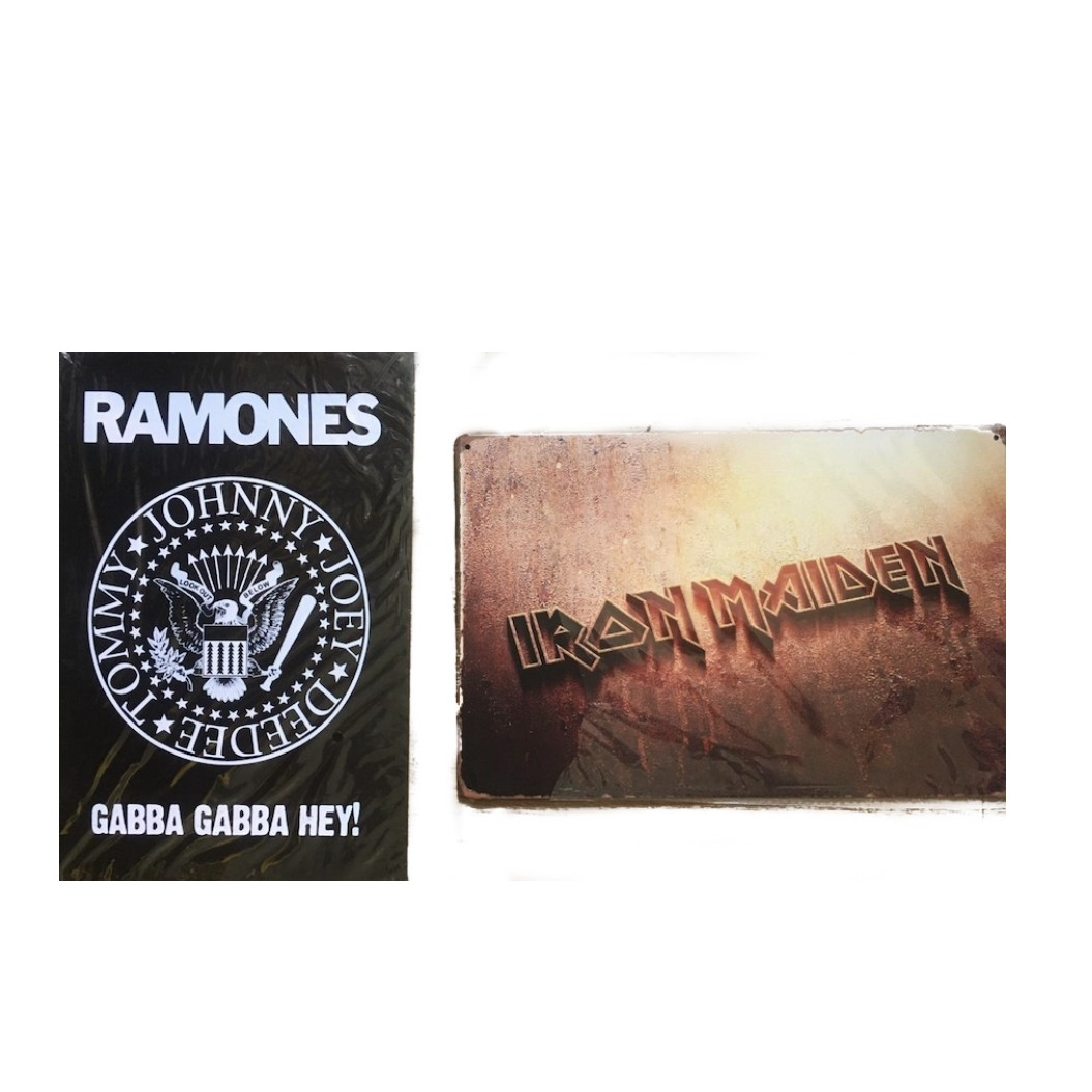 Kit 2 Placas de Metal Bandas de Rock