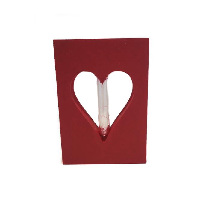 Vasinho Coração Madeira Vermelho