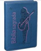 Biblia Sagrada Azul com Rosa - Edicao Feminina com Notas para Jovens