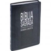Bíblia Sagrada com Harpa Cristã - Tradução Almeida Revista e Corrigida - Capa Couro Azul Nobre
