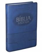 Bíblia Sagrada Letra Gigante Almeida Revista e Atualizada - Capa Azul em Couro + Índice