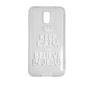 Capa Transparente para Celular Samsung Galaxy - Keep Calm And Believe In Jesus