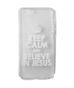 Capinha para Celular iPhone Transparente - Keep Calm And Believe In Jesus (Mantenha a calma e acredite em Jesus)