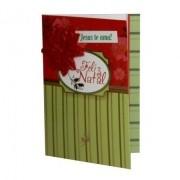Cartão de Natal Verde e Vermelho - Feliz Natal