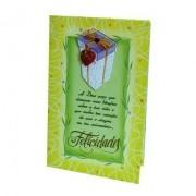 Cartão Para Presente com Envelope Amarelo e Verde - A Deus peço Bênçãos Pelo Teu Aniversário... Felicidades