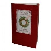 Cartão Para Presente Natal Vermelho Guirlanda - Feliz Natal e Ano Novo...