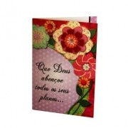 Cartão Para Presente Rosa Flores - Que Deus Abençoe Todos os Seus Planos...