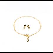 Conjunto Corrente e Brincos Folheado a Ouro 18K - Peixe Perola - Moda Evangelica