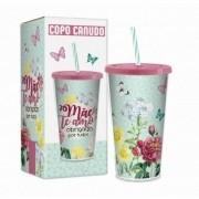 Copo Com Canudo - Mãe Te Amo - 550ml
