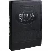 Livro Bíblia Sagrada Letra Gigante - Capa Couro Preta