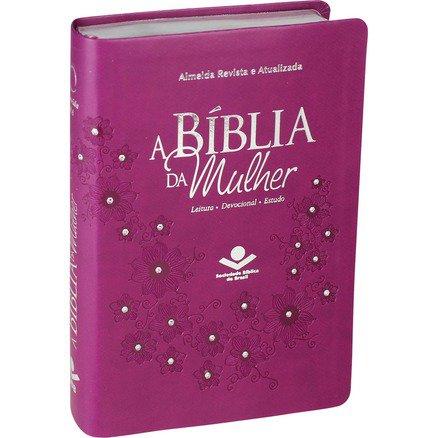 A Bíblia da Mulher - Capa Roxa com Pedras - Almeida Revista e Atualizada