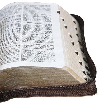 Bíblia Carteira - Almeida Revista e Atualizada - Capa Marrom Couro com Zíper