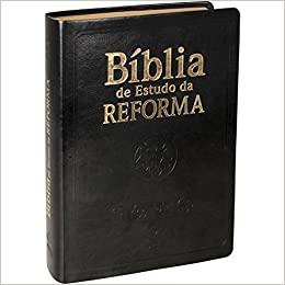 Bíblia de Estudo da Reforma - Capa Preta Couro Com Índice