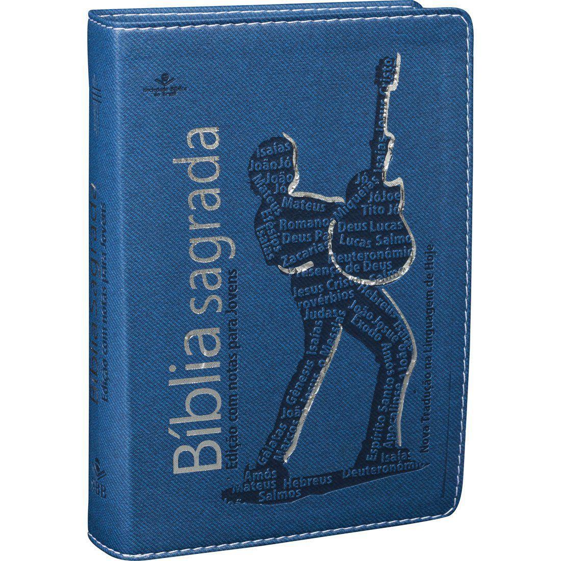 Bíblia Sagrada Azul com Prata - Edição Masculina com Notas para Jovens
